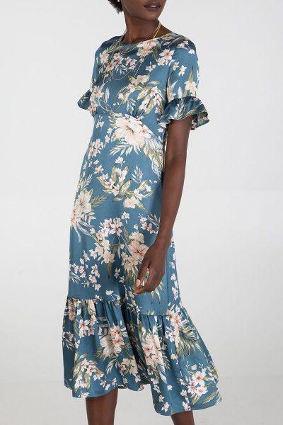 Elif Kose Floral Frill Hem Dress available on elifkose.com